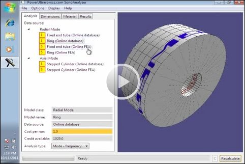 Video demonstrating SonoAnalyzer horn analysis models and methods